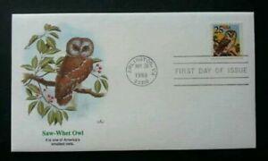 [SJ] USA Saw-Whet Owl (Smallest Owls) 1988 Birds Fauna Animal Prey (FDC) *clean