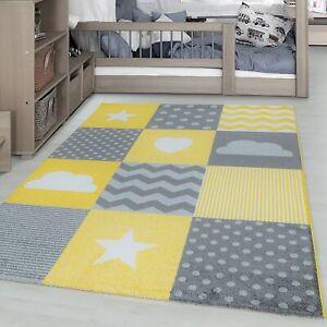 Details zu Kinderteppich Kinderzimmer kariert Wolken Sterne Herz muster  Grau Gelb Weiß