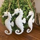 3 x Metal Hanging Seahorses/White/Coastal Christmas Decorations/Xmas Tree Decos