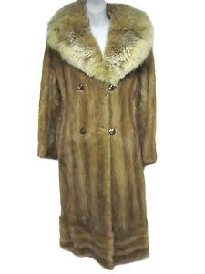 VINTAGE-Gorgeous-Lux-Tan-Light-Brown-Mink-Huge-Collar-Full-Length-Fur-Coat-S-M
