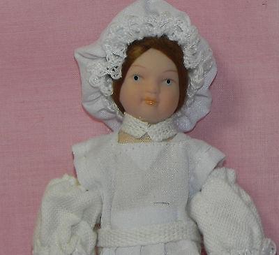 Dollhouse Miniature Maid Doll Beige Dress with Apron Porcelain 1:12 Scale