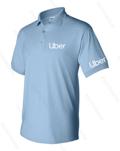 UBER text on both sleeves NEW UBER Drivers Men/'s Polo Shirt