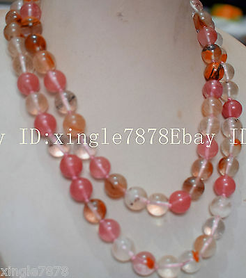 AAA 10mm round multicolor watermelon tourmaline necklace 34icnh
