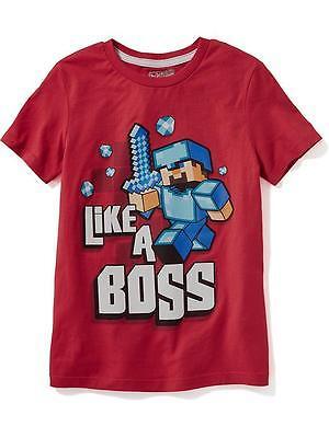 NWT OLD NAVY Boys Minecraft Characters Steve LIKE A BOSS Tee T-Shirt Tees NEW