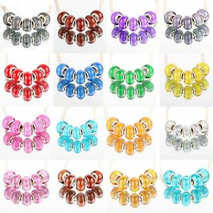 Bling-5pcs-Silver-MURANO-GLASS-BEAD-LAMPWORK-fit-European-Charm-Bracelet-Women
