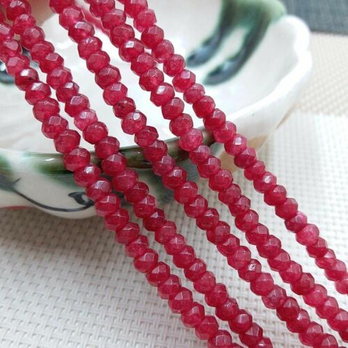 """15/"""" 2x4mm Natural Faceted Red Ruby Gemstone Blotter Loose Beads Strand AAA"""