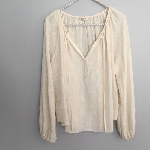 L'AGENCE Womens Size 4 Cream Silk Poet Blouse