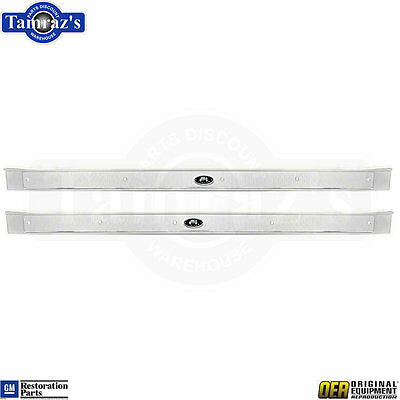 65-70 B Body Door Sill Trim Scuff Plate w/ Riveted Body Fisher Tag - OER PAIR