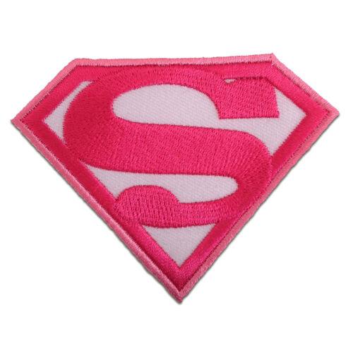 8,7 x 6,6 cm Superwoman Comic pink Aufnäher // Bügelbild