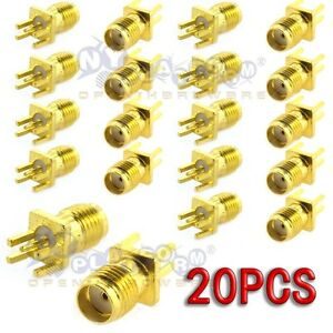 20pcs-SMA-Female-Jack-Solder-Edge-1-6mm-space-PCB-Mount-Straight-RF-Connector