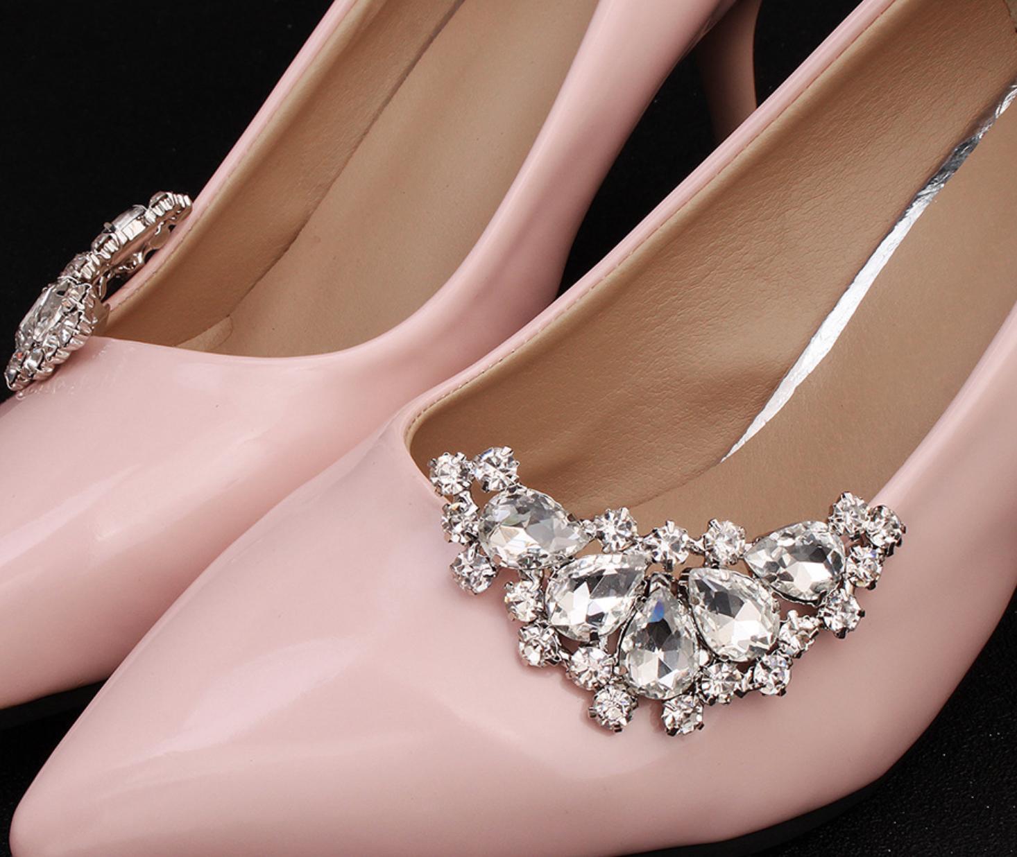 Rhinestone Diamante Crystal Wedding Shoes Bridal Crystal Vintage Shoe Clips Pair