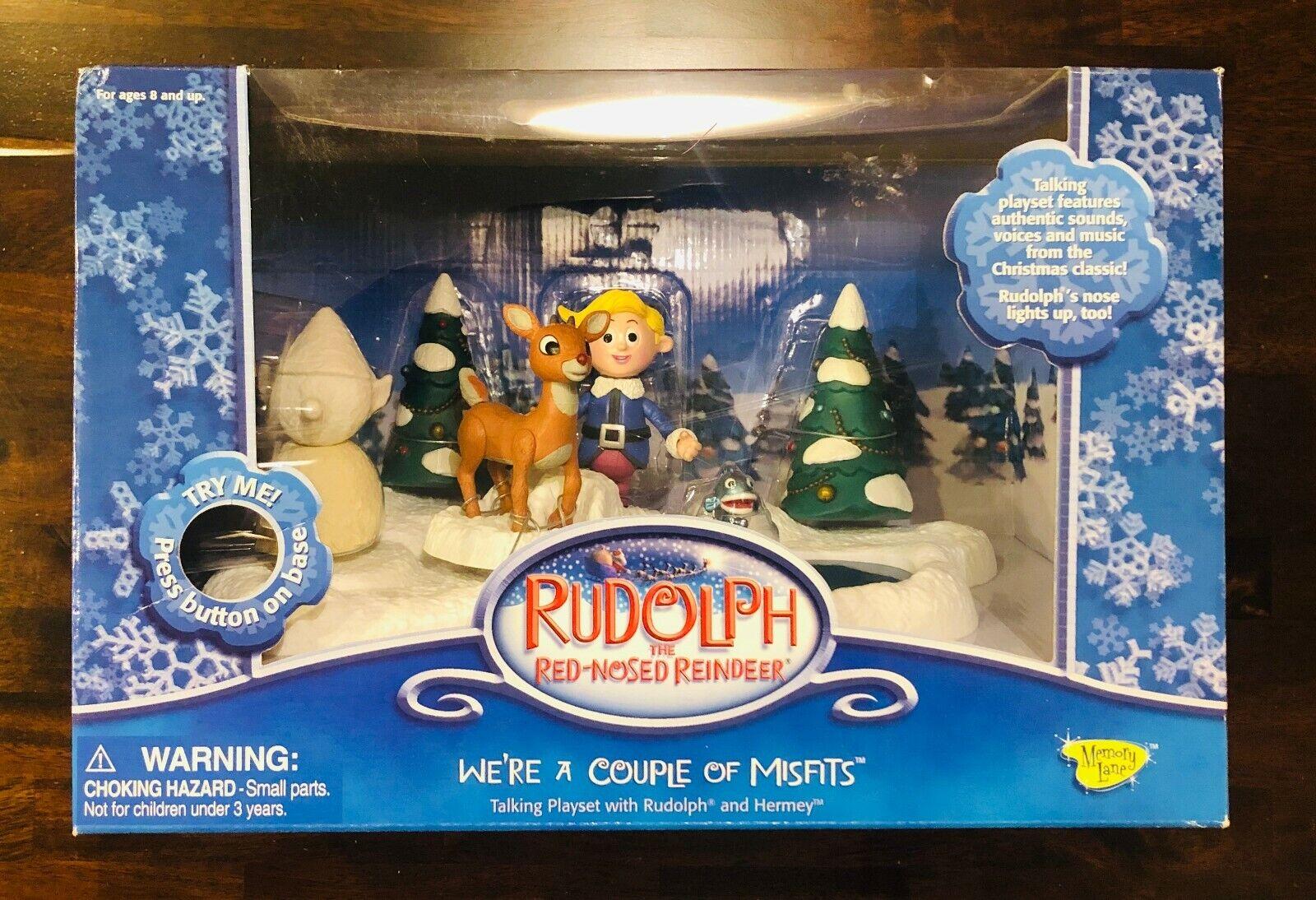 RUDOLPH + HERMEY MISFIT ELF PLAYSET the rot nosed reindeer Spielzeug Figure Talking