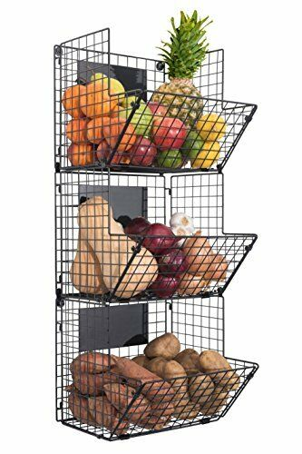 3 Tier Wall Mounted Hanging Wire Baskets with Chalkboards Organizer Decor