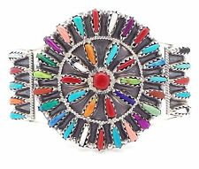 Navajo Handmade Sterling Silver Multi-stone Needlepoint Bracelet - Violet Begay