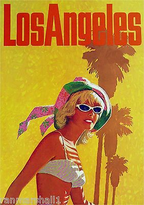 Los Angeles Sunny California Vintage United States Travel Advertisement Poster
