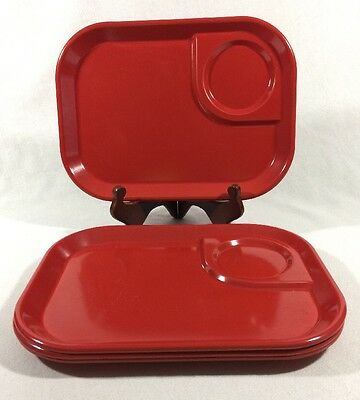 Lot of 4 Vintage Red Rubbermaid Lunch / Snack Trays 3850 Melamine Melmac