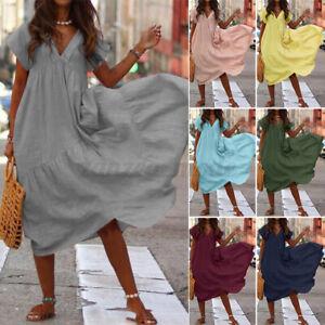 UK-Womens-Holiday-Short-Sleeve-V-Neck-Beach-Dress-Ladies-Party-Club-Maxi-Dresses