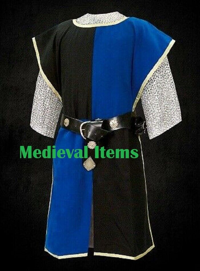 Medieval Knight Two Colored Tabard Sleeveless Tunic Renaissance Black & Blue