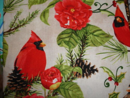 Red//Yellow Cardinals on Cream Cotton Fabric Plastic Shopping//Grocery Bag Holder