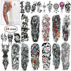 Tatouage-Temporaire-Homme-Femme-Manchette-Tattoo-Ephemere-Sticker-Bras-24-Pieces