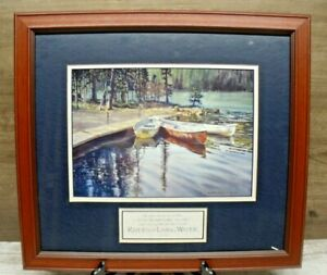 Framed-amp-Matted-Print-poster-art-lithograph-Kiff-Holland-canoe-harbor-John-7-38