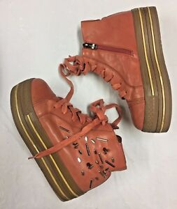 SUNDANCE-Girl-039-s-SZ-1-5-US-BOOTS-Ankle-Persimmon-Raised-Soles-Lace-Up-Side-Zipper