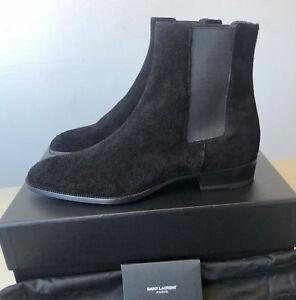 48fd26b28bb Original Saint Laurent Paris Wyatt 30 Black Suede Chelsea Boots Hedi ...
