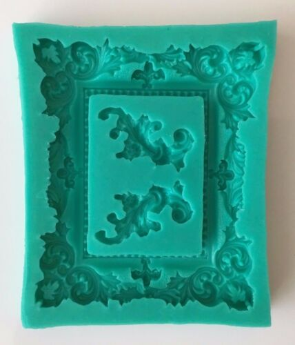 vintage frame Silicone Mould Mold Chocolate Cupcake Toppers Birthday wedding