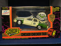 1995 Road Champs Chicago Checker Taxi Diecast Metal & Plastic 1/43 Scale
