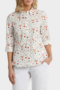 NEW-Trent-Nathan-Liberty-Print-3-4-Sleeve-Shirt-Red