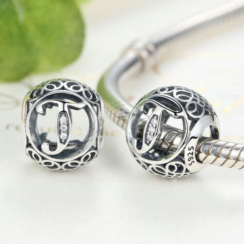 Vintage Letter 26 Alphabet 925 Sterling Silver Charm Bead Fits European Bracelet