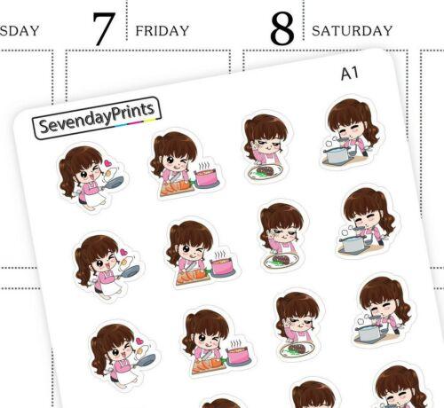 Kawaii Cute Girl Chef Cooking Food Kitchenware Erin Condren Planner Stickers A1