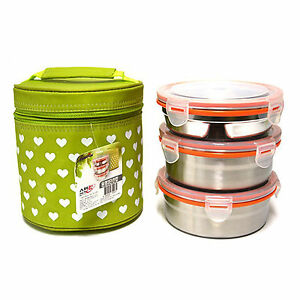 stainless steel 3 food container circle s bento lunch box storage insulated b. Black Bedroom Furniture Sets. Home Design Ideas