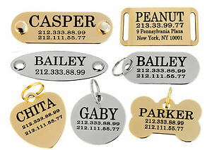 Dog-Tag-Personalized-ID-Name-Plate-Custom-Laser-Engraved-Puppy-Cat-Brass-Steel