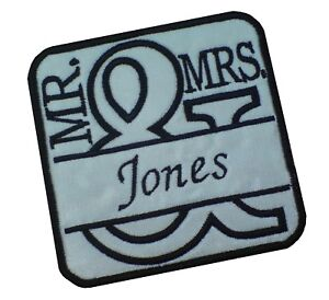 1-x-Wedding-Mr-amp-Mrs-Tile-Personalised-Name-Sew-039-n-039-Iron-On-Patch-Motif