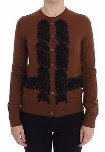 Lace Sweater Black Gabbana 1100 Brown us6 Dolce Wool amp; S New Cardigan It40 xpfq8OI