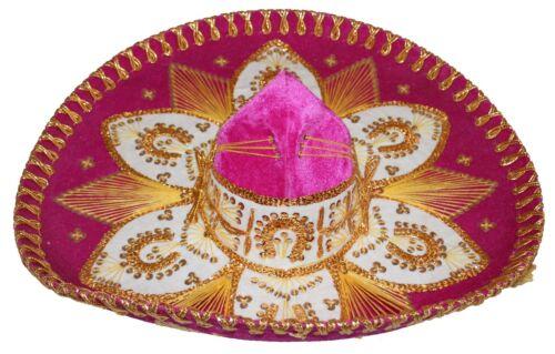 Youth Mexican Mariachi Hat Sombrero Charro Cinco de Mayo Folk Art Pink Gold