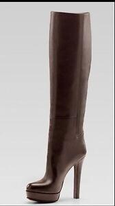 3a32676db6e Details about Aurh. NEW RUNWAY GUCCI TALL BOOTS 'ALEXA' LEATHER BROWN HIGH  HEEL SZ.35 1/2