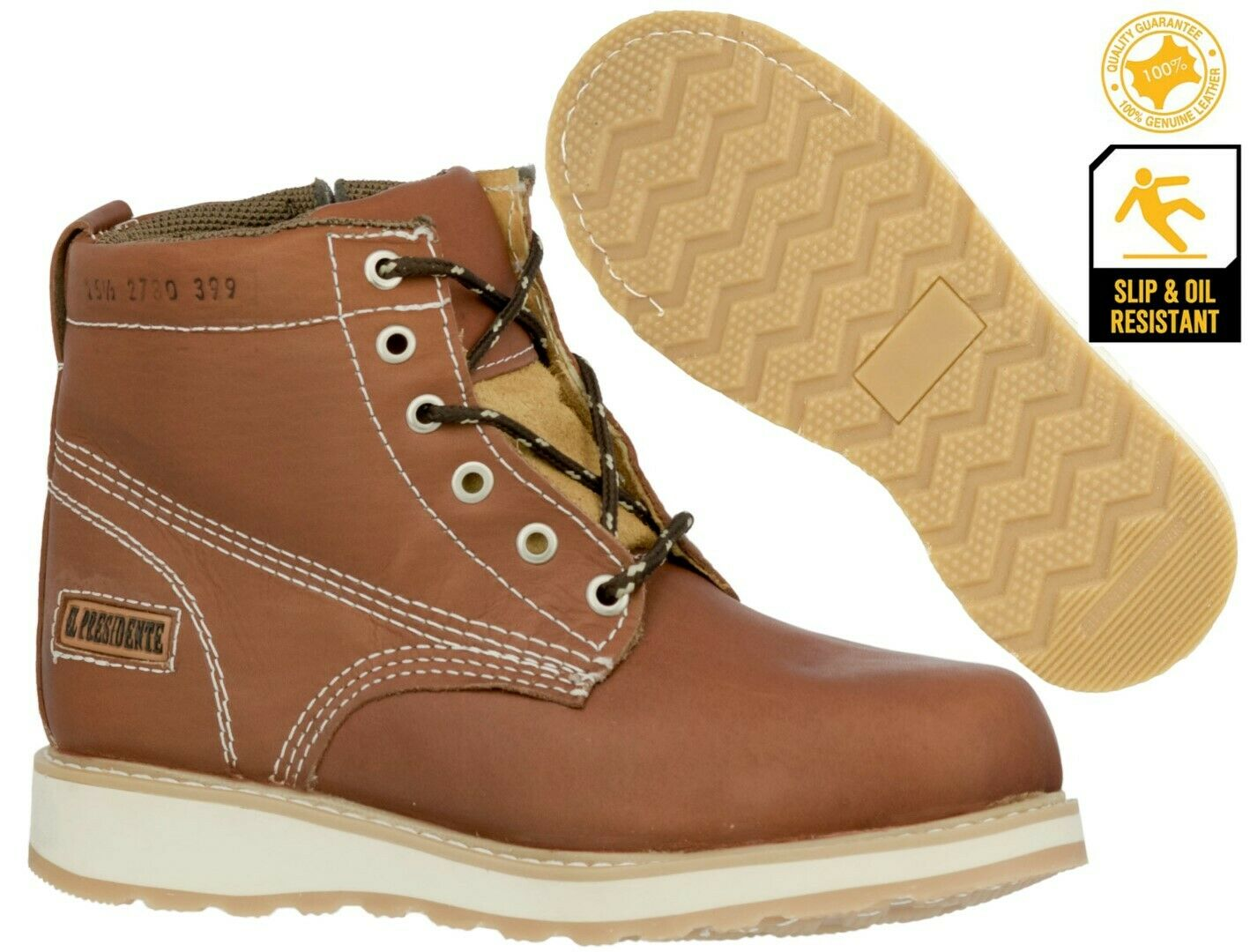 Mens Honey Brown Work Boots Genuine Leather Lace Up Safety Oil Resistant Shoes