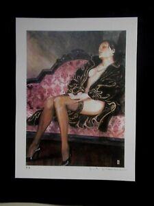 "Milo Manara ( Art Print ) "" le Sofa "" , Epreuve d'Artiste + Belle Signature"