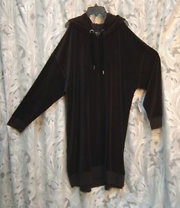 ~ neu Hooded 2x 3x ~ Hoodie Top Dress Cold Velourstretch Schwarzer Sweatshirt ~ Cold qPO7tx6