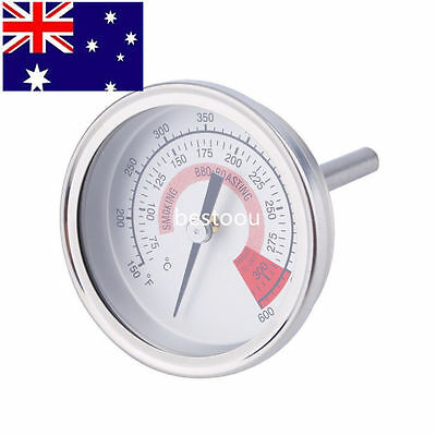 Stainless Steel Barbecue BBQ Pit Smoker Grill Thermometer Gauge 300 SDV