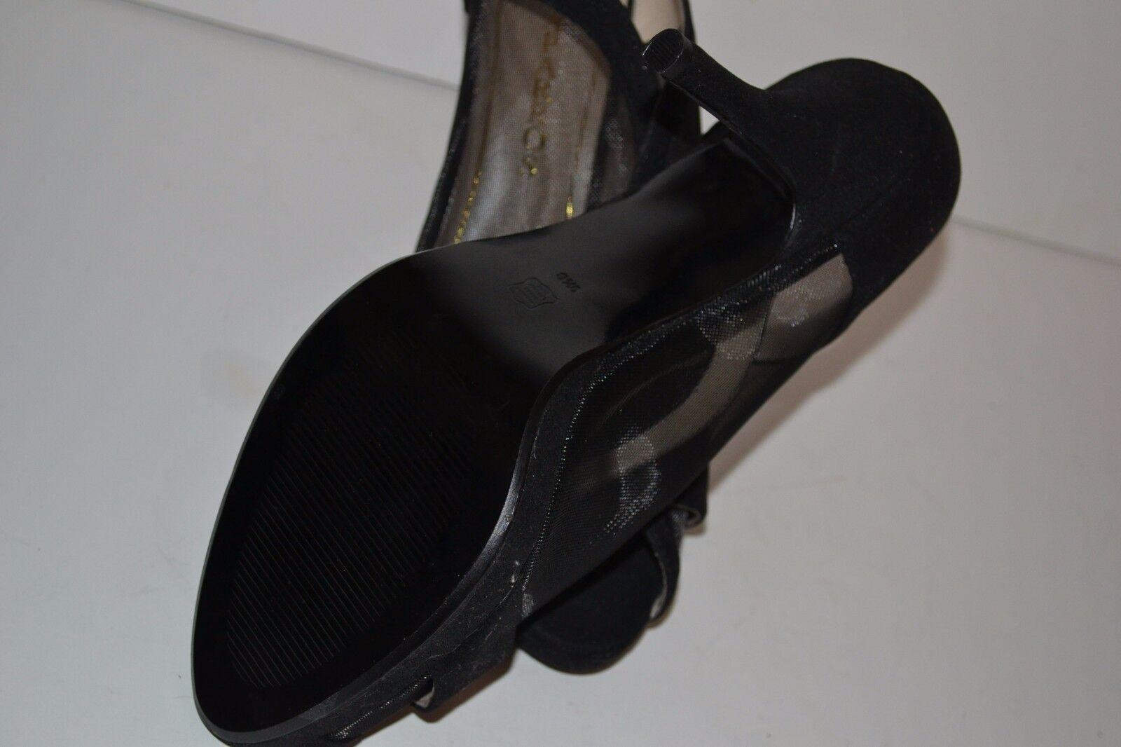 Caparros Neville Para Gamuza Cuero Para Neville Mujer Malla Negra Puntera abierta Tacones Talla 9.5 M Nuevo 0ed762