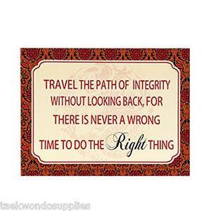Integrity Block Plaque Wall Sign- karate-taekwon<wbr/>do-martial arts - NEW c13831