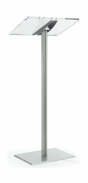 Displays2go CLRLECBNDS Floor Standing Speaking Podium Silver for sale online