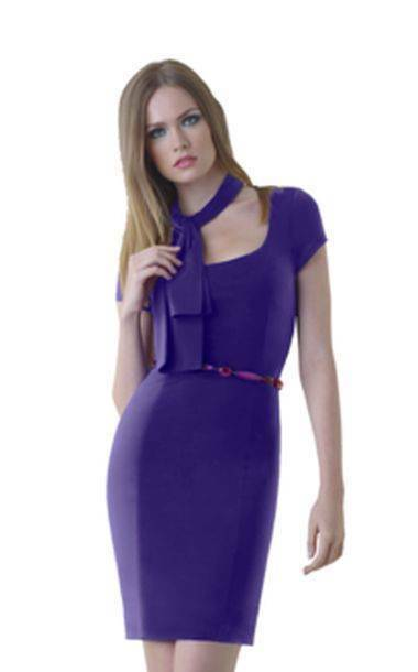 Shape FX lila Cap Sleeve Dress with Power-Mesh Control Slip Built In RRP