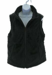 TeezHer-Womens-Black-Faux-Fur-and-Quilted-Reversible-Sleeveless-Vest-Size-Large