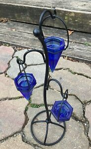 Cobalt Blue Glass Conical Tealight Holder (3) Tiered Metal Stand Functional Gem