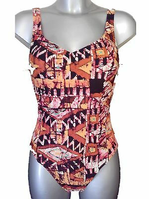 New M/&S Animal Print Underwired Swimsuit 34A Swimming Costume with Gold sparkle