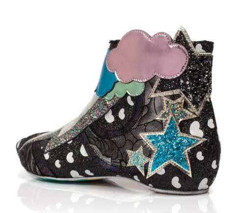 Irregular Choice NEW Electric Buzz black silver lightning flat ankle boots 3-9